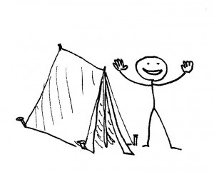 In case you weren't sure, our man here is happy because he made this tent.