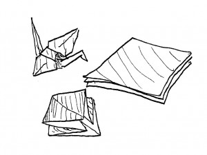 The crane, the paper and the half-finished crane.